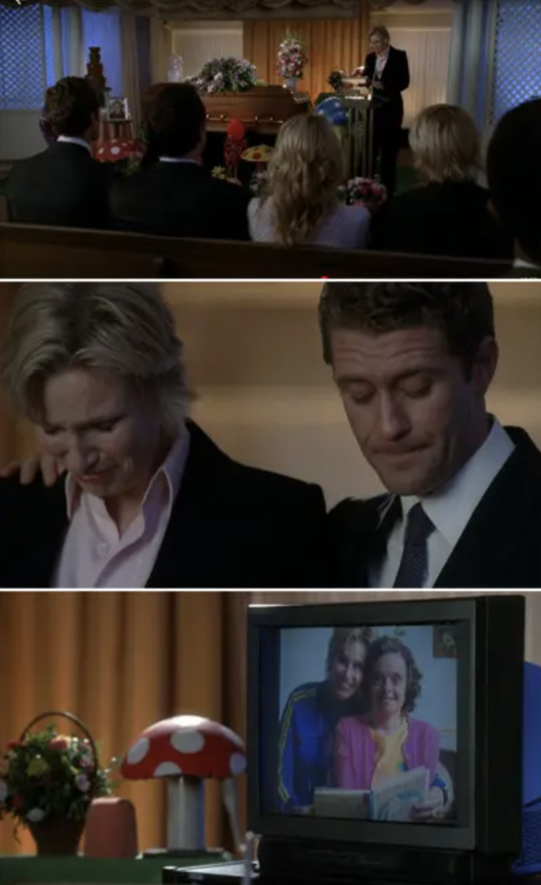 Sue Sylvester crying at her sister's funeral