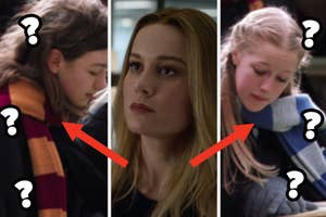 A girl wears the Gryffindor House scar, Brie Larson as Carol Danvers in the movie