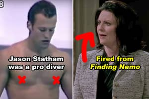 Side-by-side of Jason Statham as a pro diver and Karen Walker in