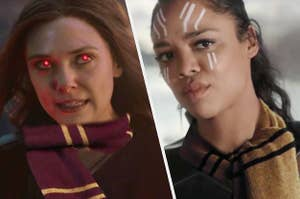 Wanda Maximoff wears the Gryffindor House scarf and Valkyrie from the