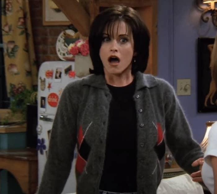 Horrified Monica Geller gasping