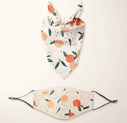 a matching bandanna and face mask set with a peaches print