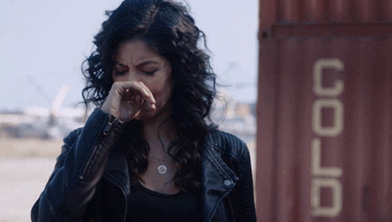 disgusted rosa diaz from brooklyn 99 covering her nose
