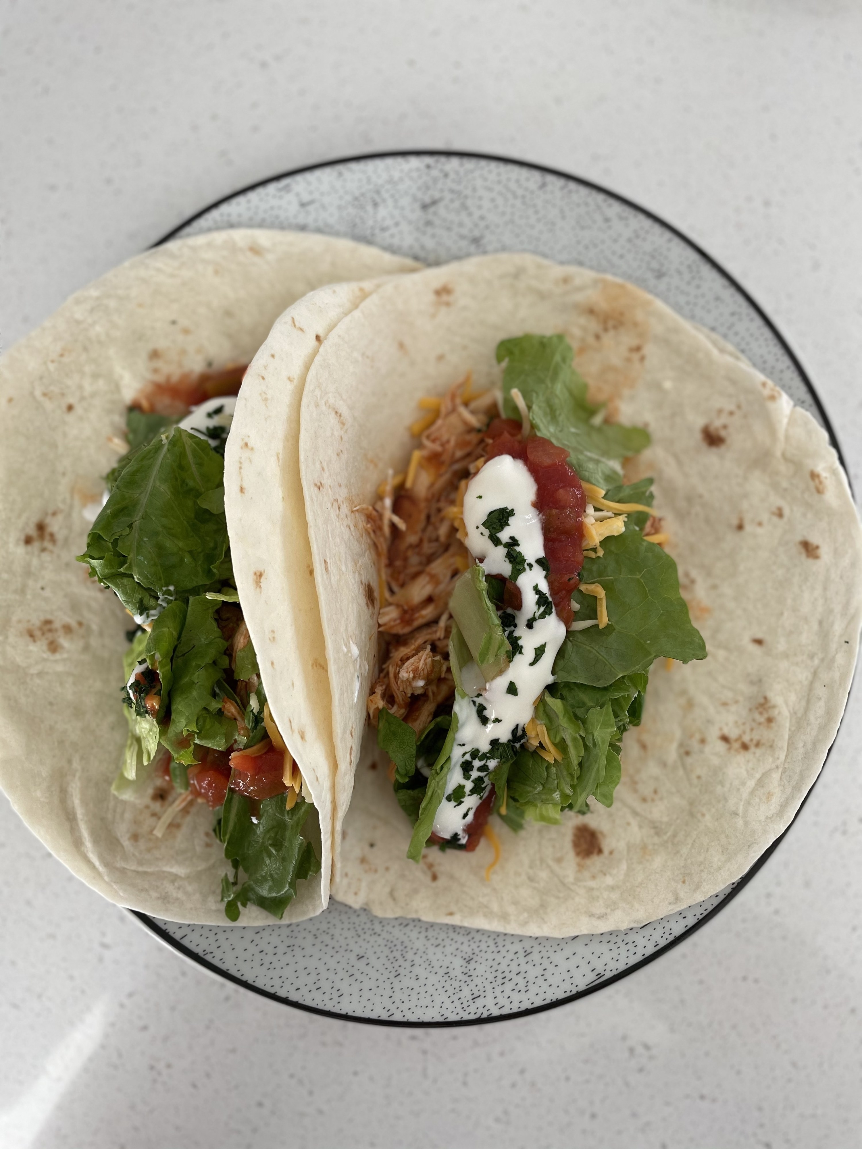 Chicken tacos plated