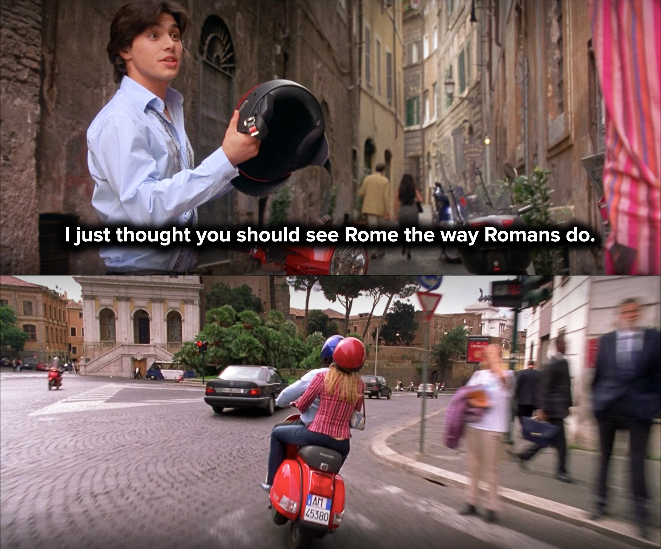 Paolo offers Lizzie a ride on his Vespa