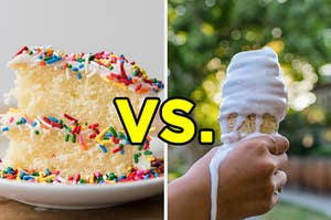 "On the left, a slice of vanilla cake with sprinkles on a plate, and on the right, someone holding a melty vanilla soft serve cone with ""vs."" typed in the middle"