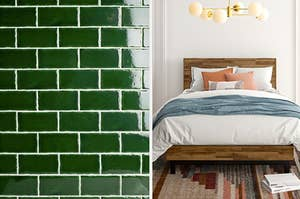 deep green tiles on the left and a wooden bed frame on the right