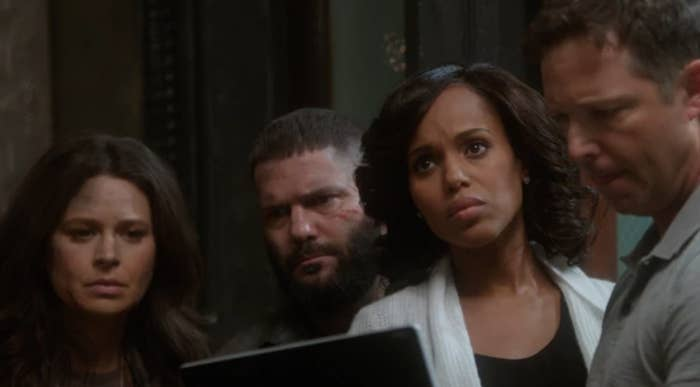 """Kerry Washington as Olivia """"Liv"""" Carolyn Pope, Katie Lowes as Quinn Perkins, and Guillermo Diaz as Huck in the show """"Scandal."""""""