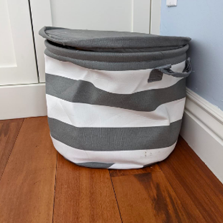 The bag put together, with a lid and handles and all toys hidden inside