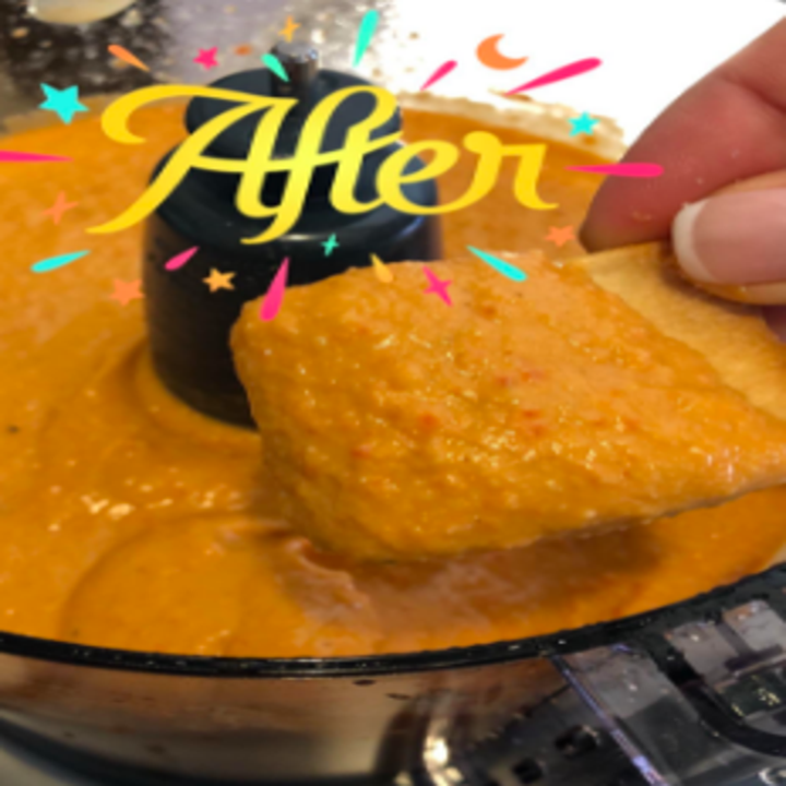 After image with the ingredients mixed together into a smooth chip dip