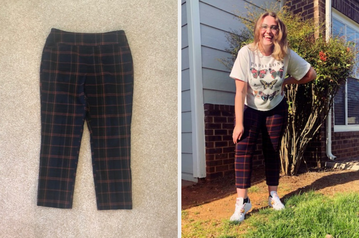 Pair of printed pants, next to a woman wearing the pants and a t-shirt