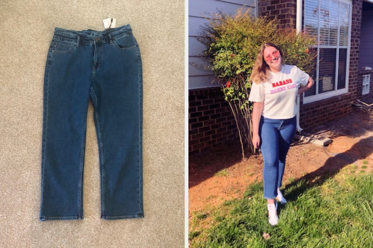 Jeans, next to a woman wearing the jeans and a t-shirt
