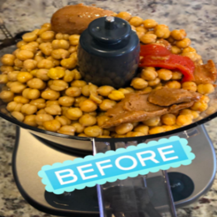 Reviewer before image with chickpeas, spread, and pepper inside