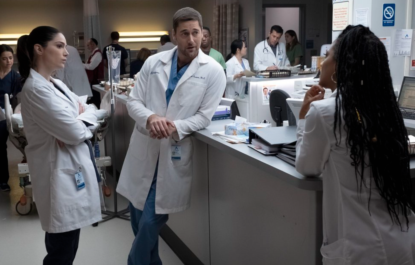 """Ryan Eggold as Dr. Maximus """"Max"""" Goodwin, Freema Agyeman as Dr. Helen Sharpe, and Janet Montgomery as Dr. Lauren Bloom in the show """"New Amsterdam."""""""
