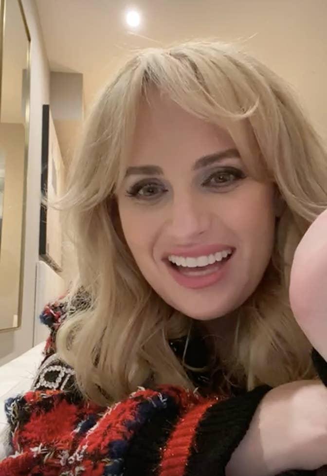 Rebel smiling during her Instagram Live