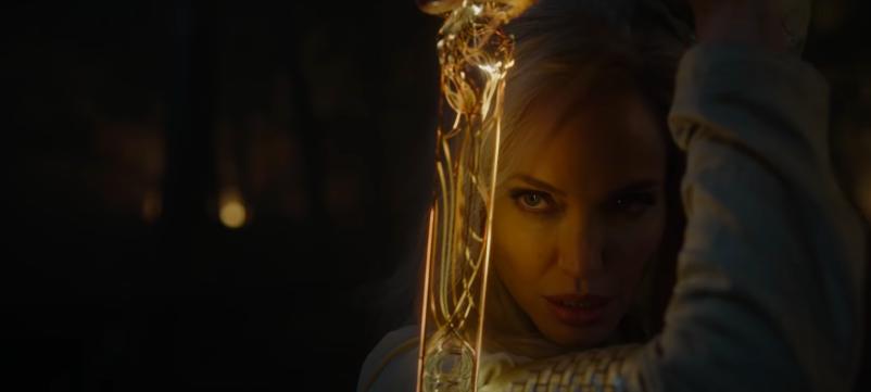 Angelina wielding a sword