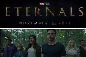 Eternals title card over top a photo of the cast