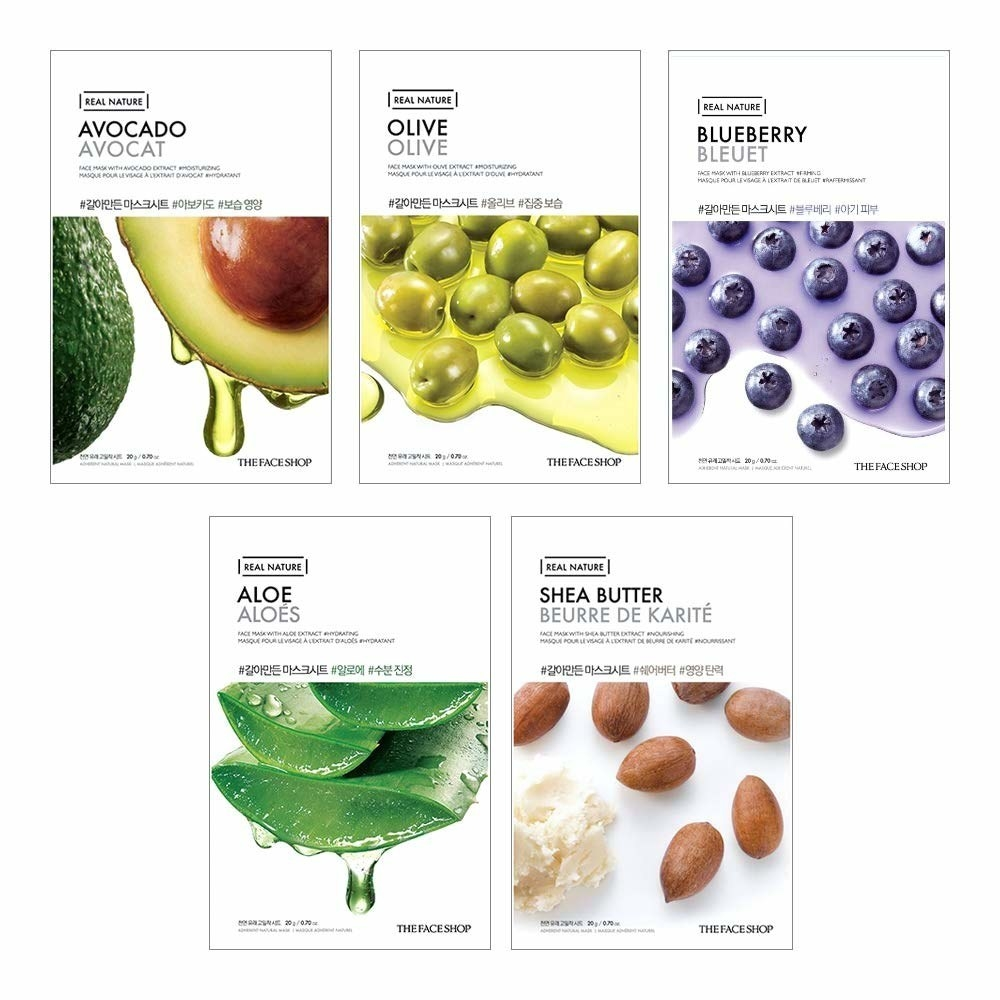 Avocado, Olive, Blueberry, Aloe, and Shea Butter sheet masks