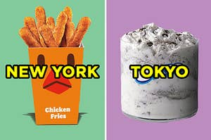 """On the left, some Chicken Fries frog Burger King labeled """"New York,"""" and on the right, an Oreo McFlurry labeled """"Tokyo"""""""