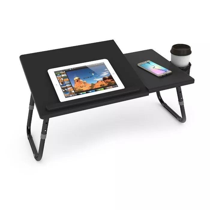 The adjustable laptop tray with a cup holder