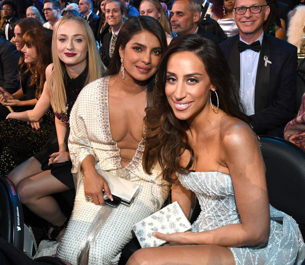 (L-R) Sophie Turner, Priyanka Chopra Jonas, and Danielle Jonas during the 62nd Annual GRAMMY Awards
