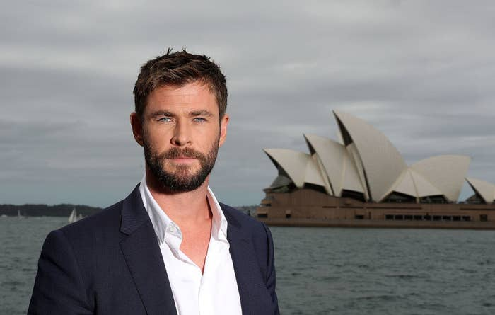 Chris Hemsworth with the Sydney Opera House in the background