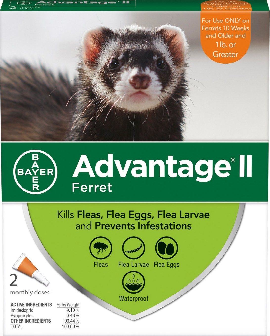 The pack of flea treatment for ferrets