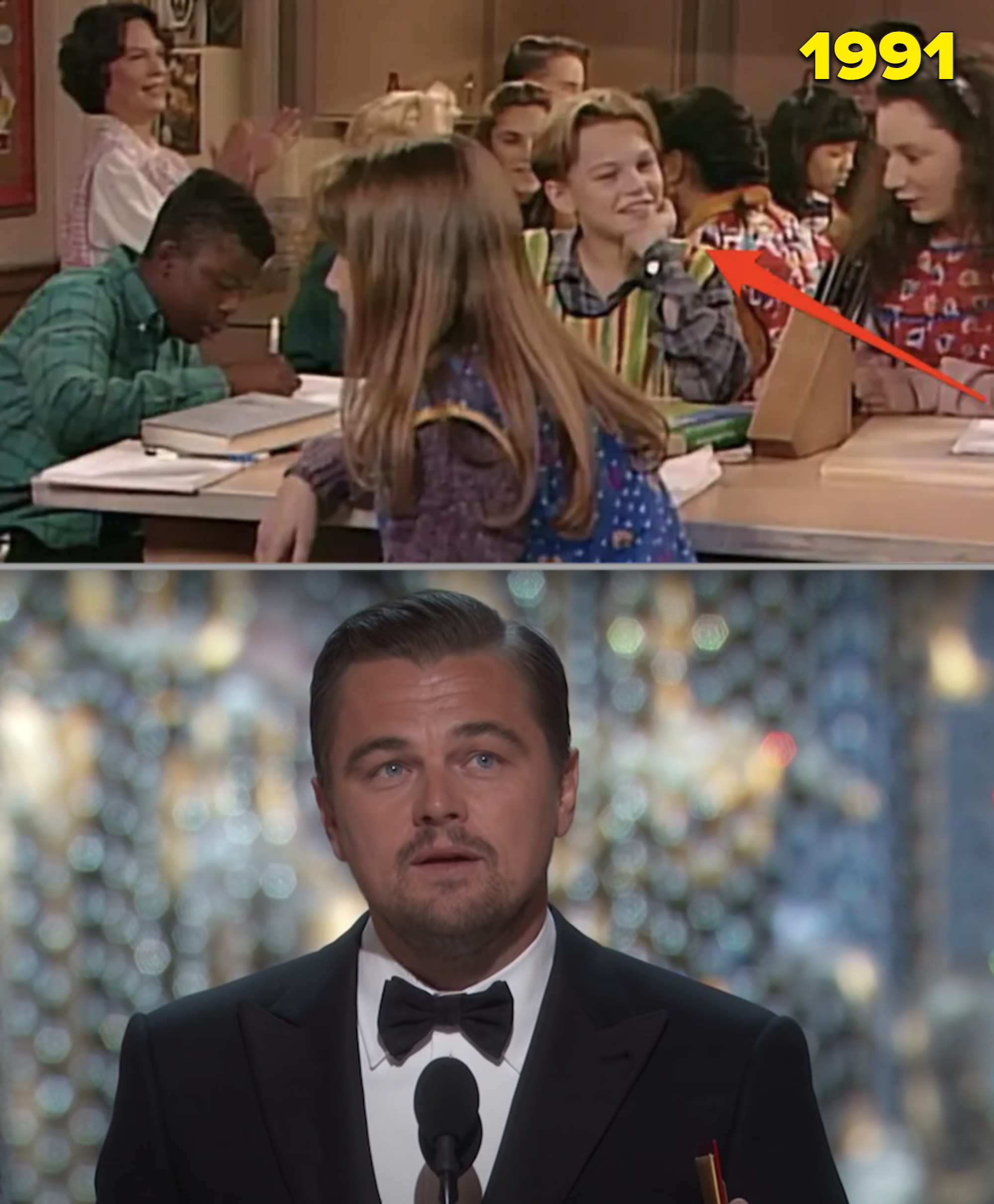 """Leo as a child on """"Roseanne"""" vs. him accepting his Oscar"""