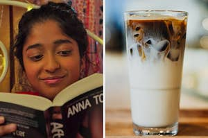 """On the left, Devi from """"Never Have I Ever"""" lying in bed and reading a book, and on the right, an iced coffee in a glass"""