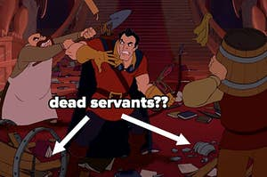 """Gaston and the villagers attacking the castle in Beauty and the Beast and arrows pointing to broken objects labeled """"dead servants??"""""""