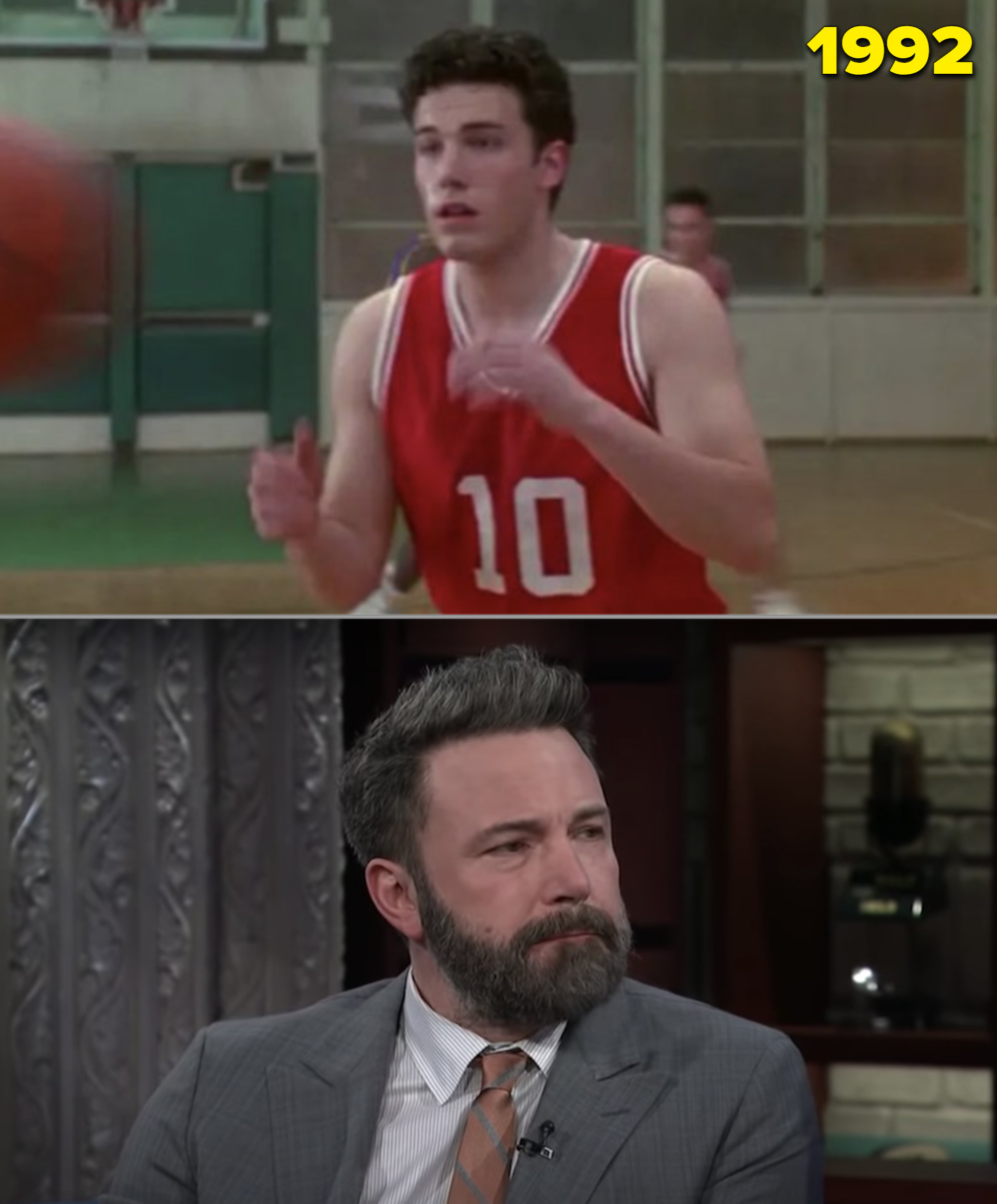 """Ben in a red basketball uniform on court in """"Buffy"""" and him in Colbert's late-night show"""