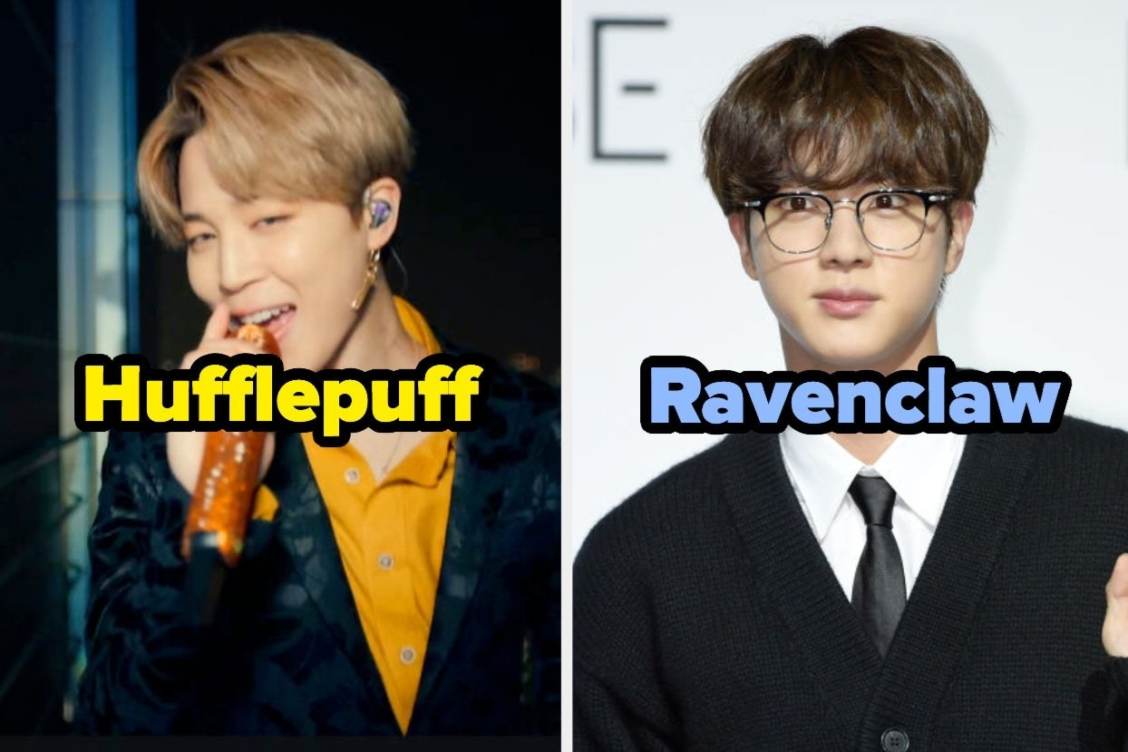 """Jimin labeled """"Hufflepuff"""" and Jin labeled """"Ravenclaw"""""""