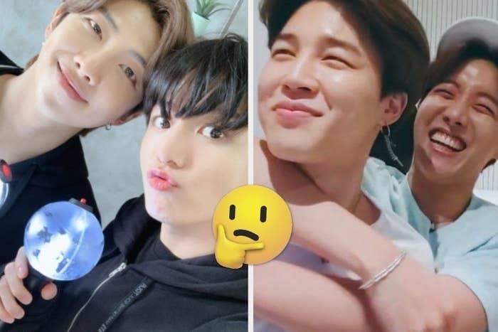 RM and Jungkook posing and Jimin and Ho-seok