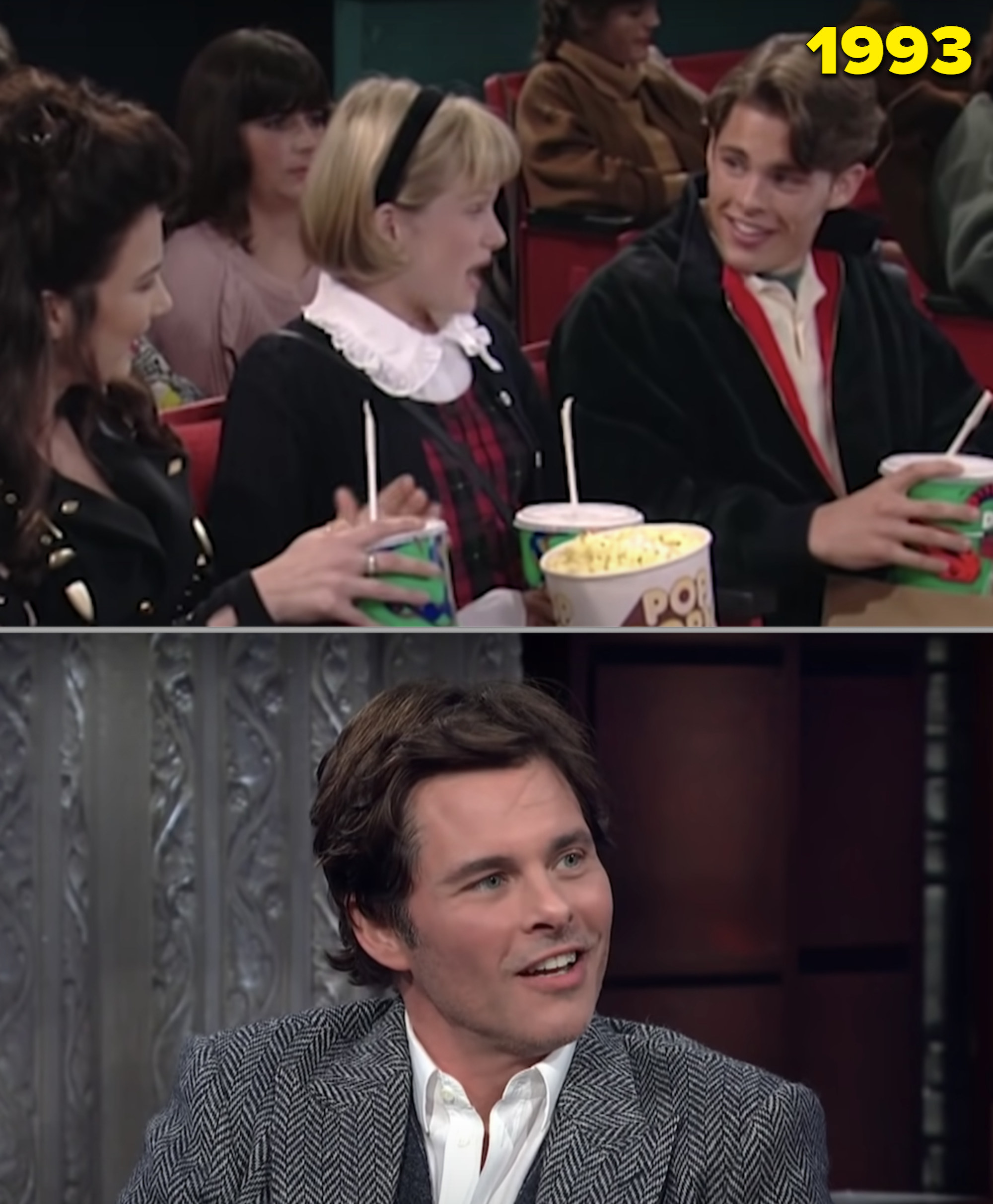 """James Marsden on a date at the movies in """"The Nanny"""" and on Colbert's talk show"""