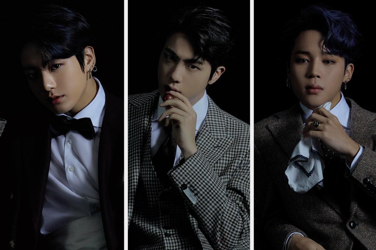 Three images of Jungkook, Jin, and Jimin