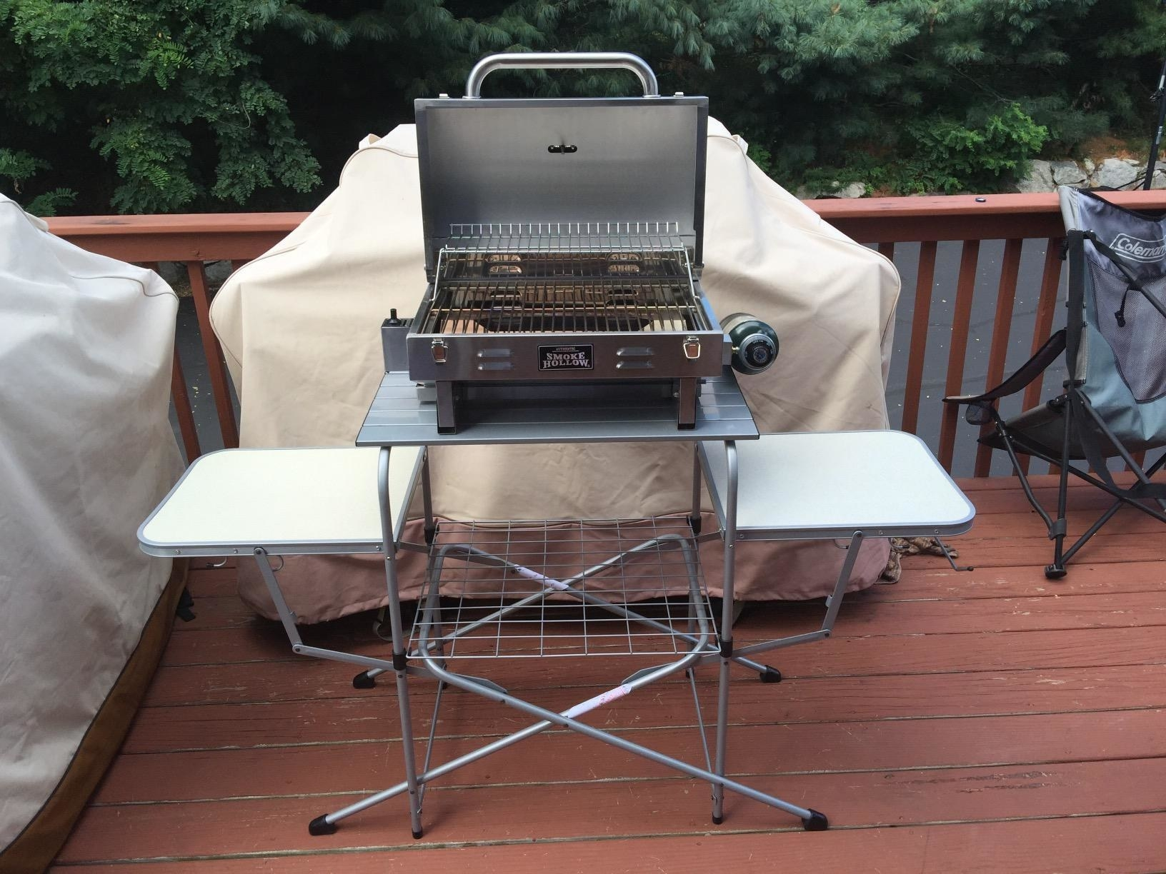 Reviewer's photo of grill table set up with grill on top
