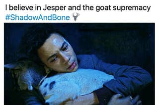Jesper holding the goat with the caption