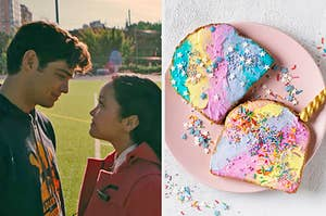 """On the left, Peter and Lara Jean from """"To All the Boys I've Loved Before"""" staring into each other's eyes, and on the right, unicorn toast topped with sprinkles"""