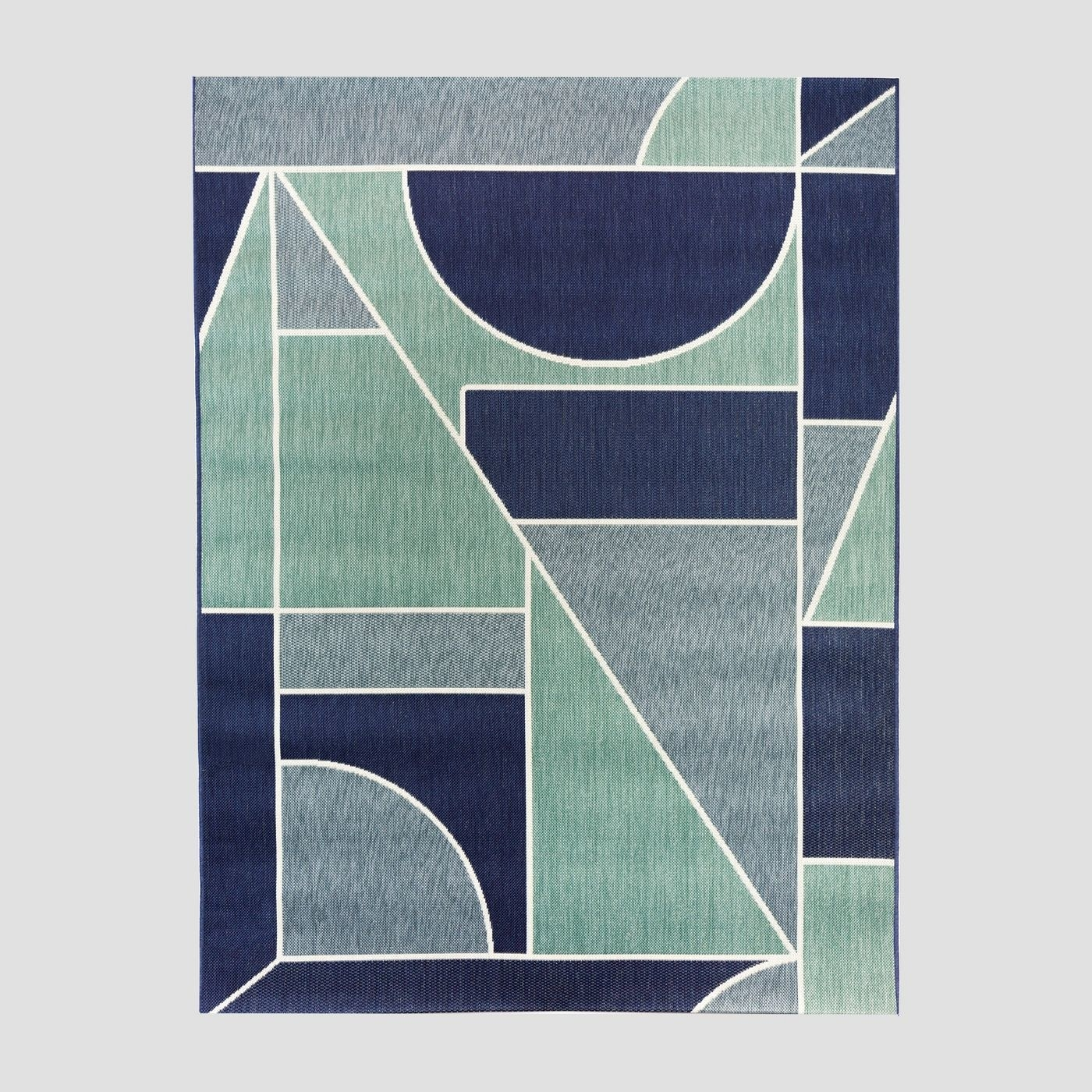 navy, aqua, and gray geometric rug