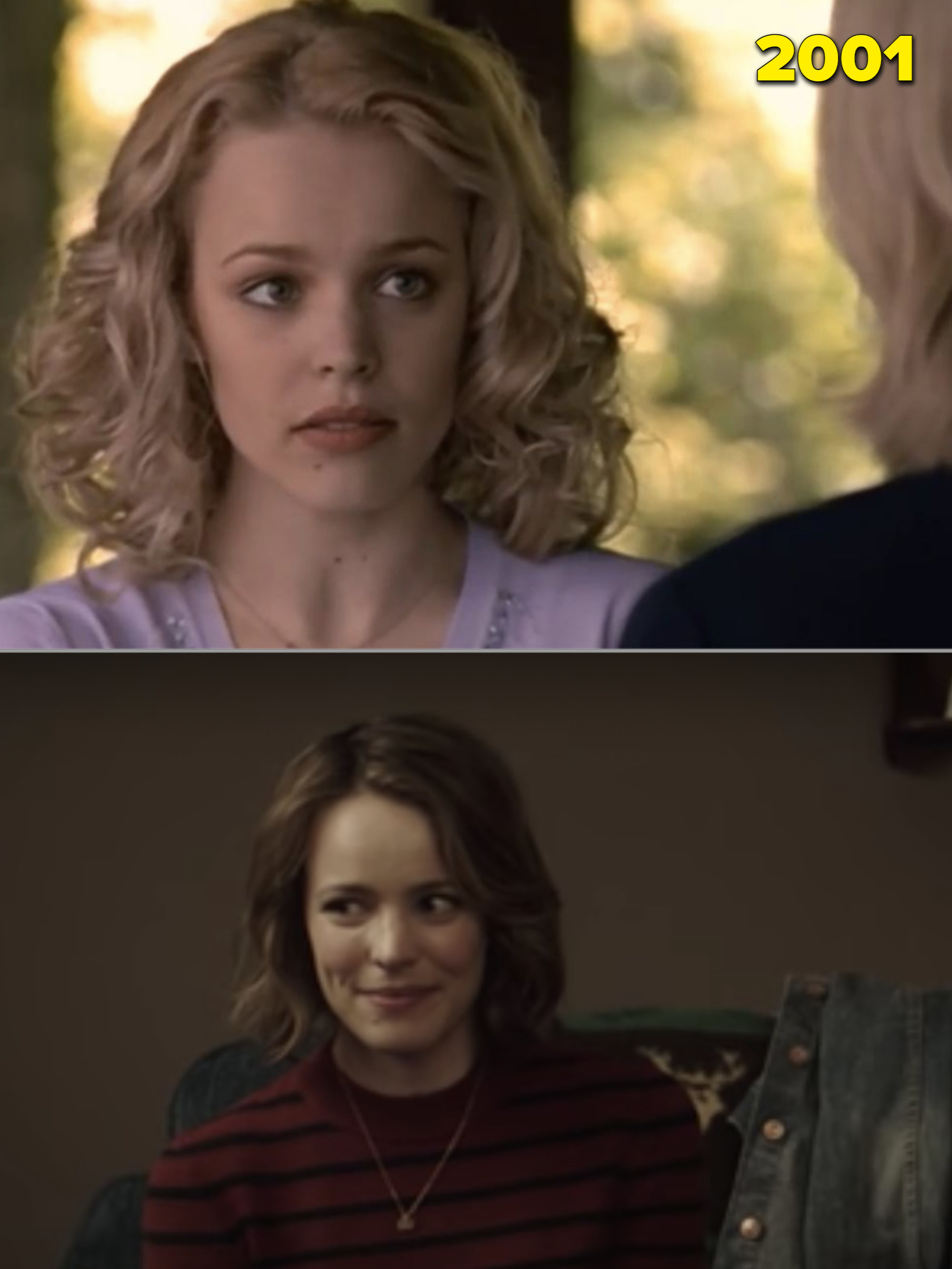 """Rachel with poofy hair in 2001 and her in """"Game Night"""""""