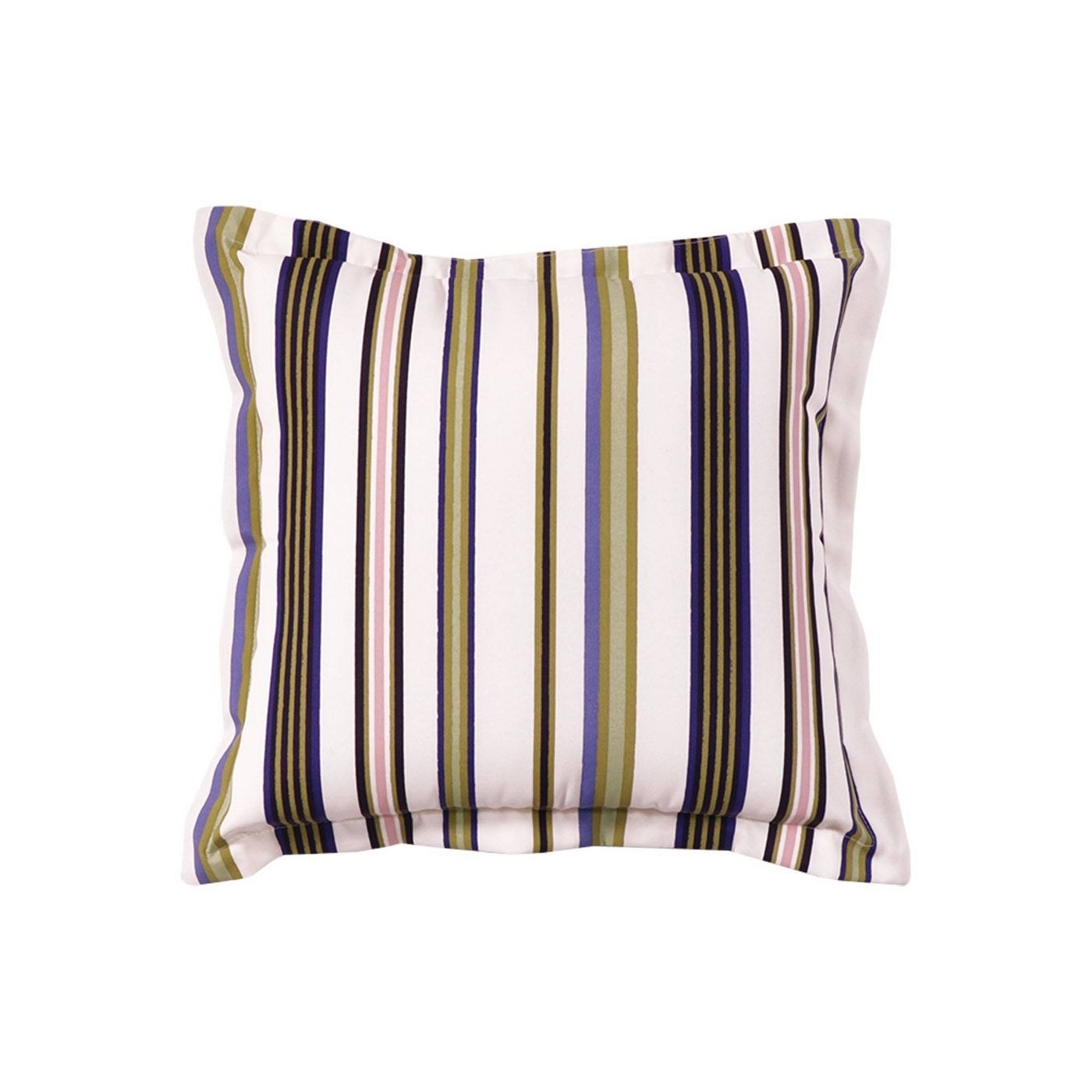 Green, pink, brown, and cream striped pillow