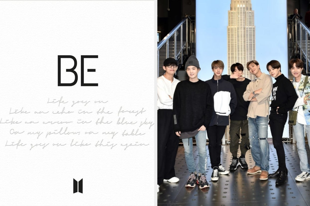 Be album cover and BTS