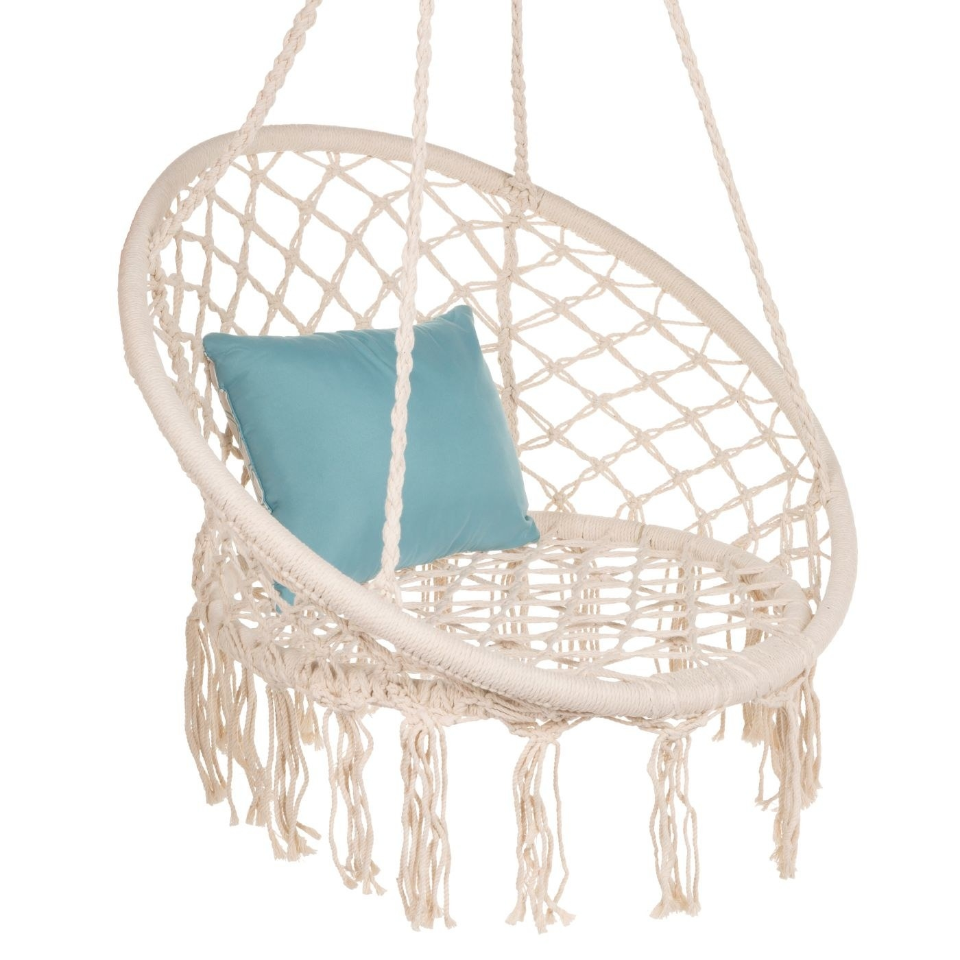 Cream chair swing with teal pillow