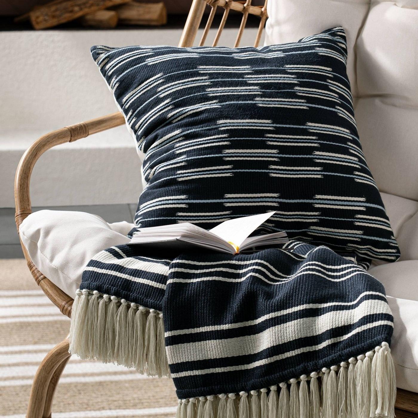 navy and cream stripe blanket