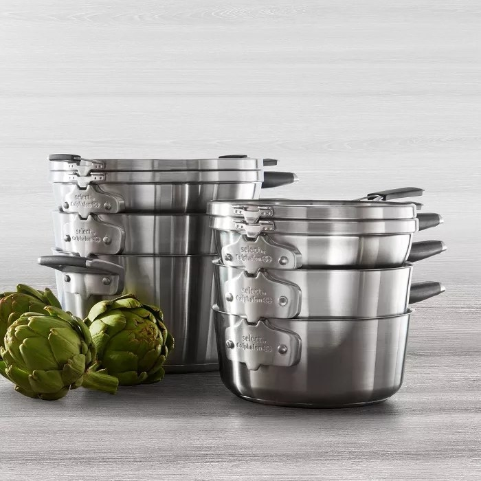 The stainless steel nesting cookware