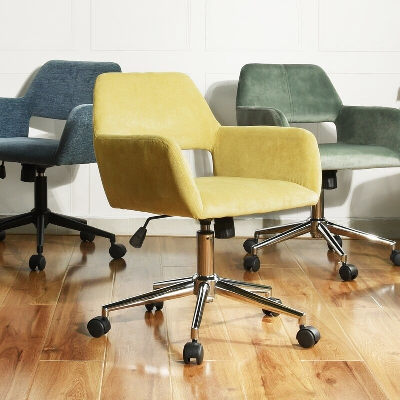 Chairs in yellow, blue, and green