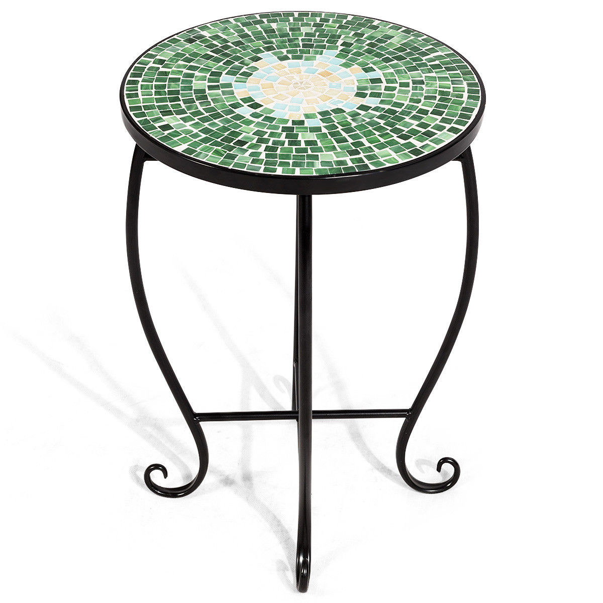 round side table with black metal legs and mosaic top in green, blue, and yellow design