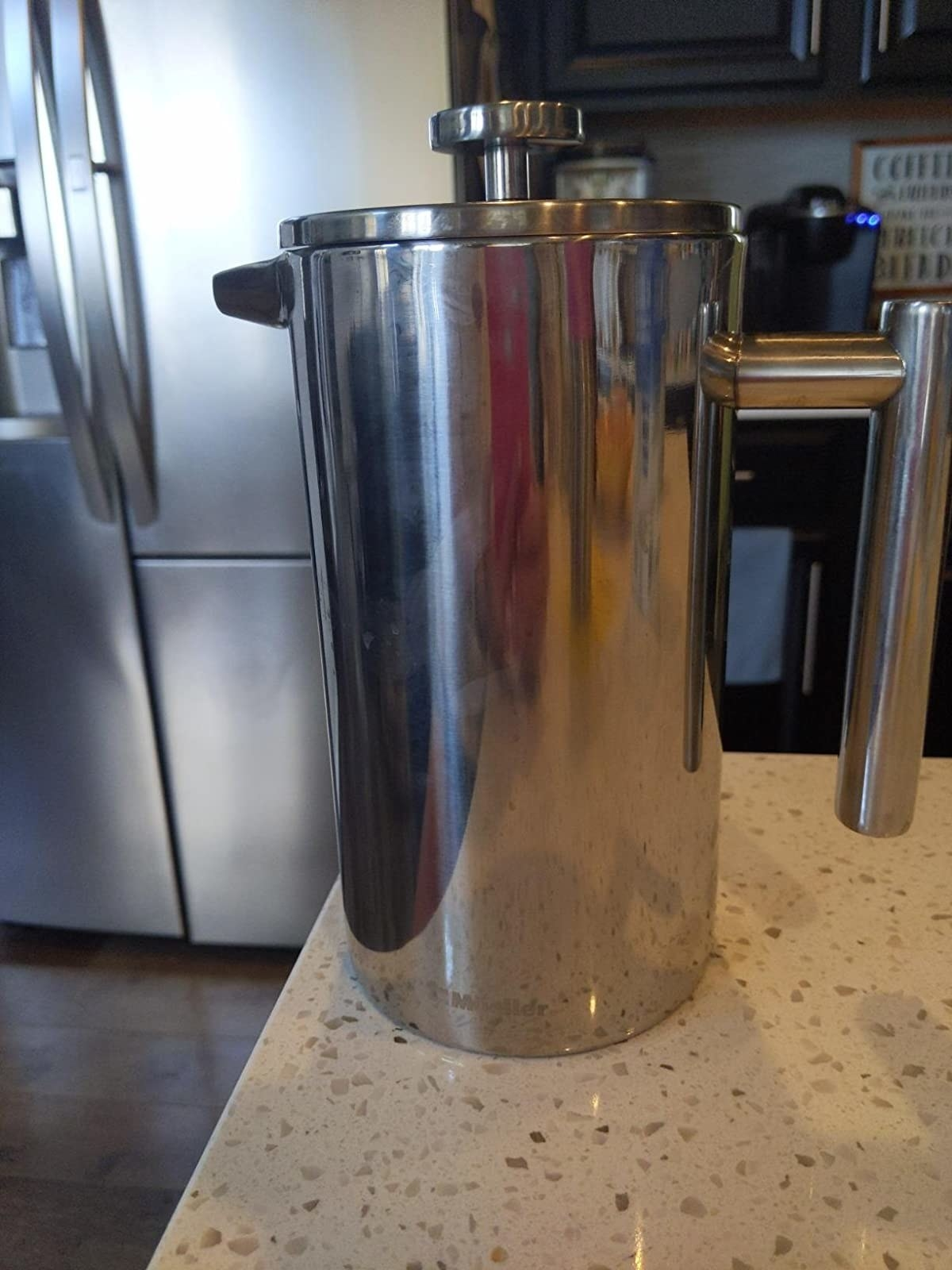 A reviewer photo of the French press, which is all stainless steel