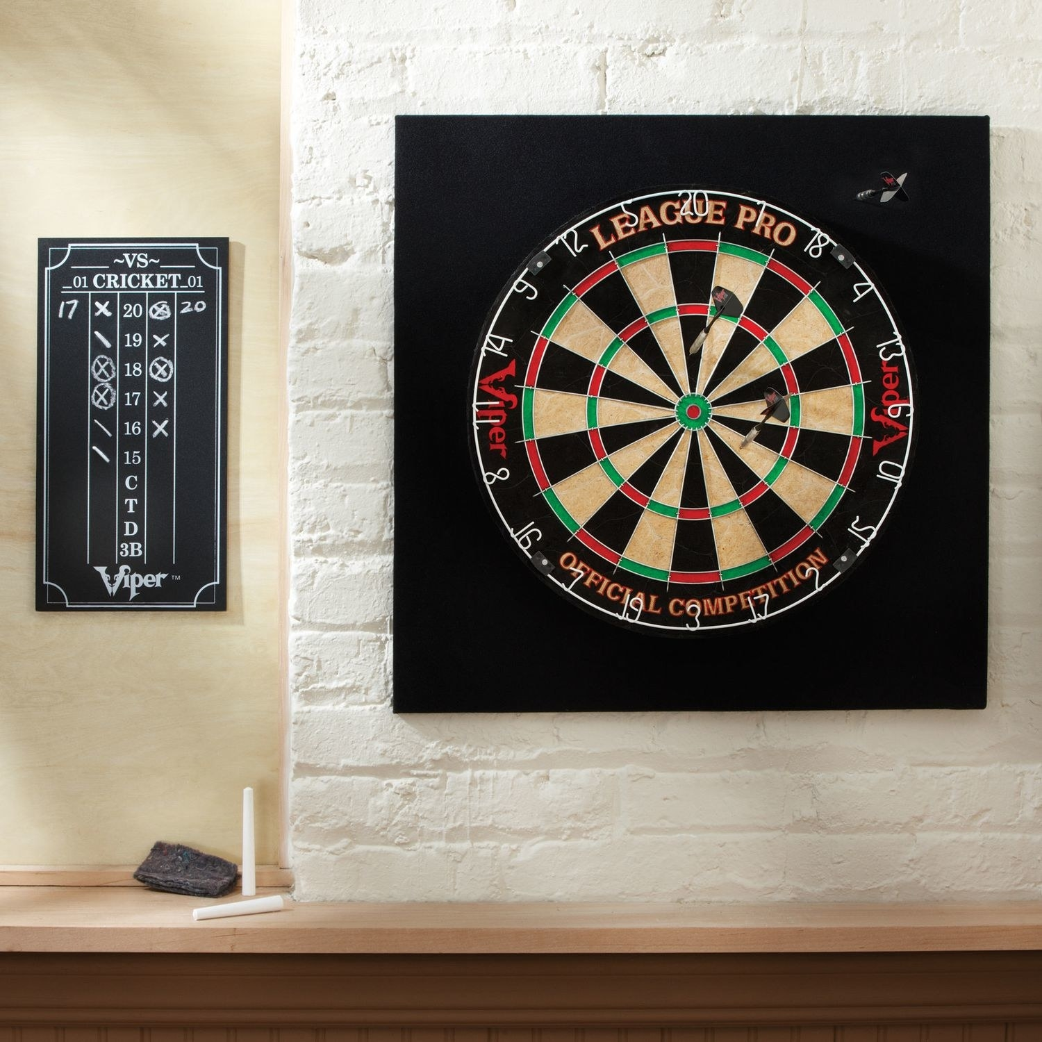 The dart board on a wall