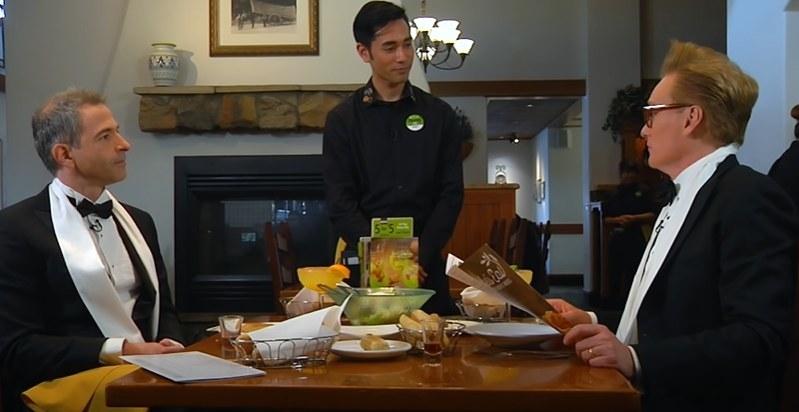 Conan and Jordan Schlansky in an Olive Garden